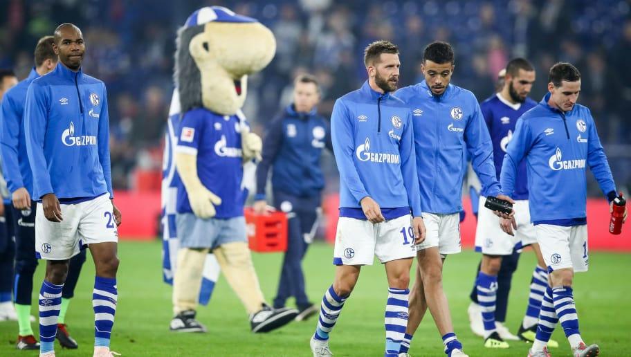 GELSENKIRCHEN, GERMANY - SEPTEMBER 22: Players of Schalke react after the Bundesliga match between FC Schalke 04 and FC Bayern Muenchen at Veltins-Arena on September 22, 2018 in Gelsenkirchen, Germany. (Photo by Maja Hitij/Bongarts/Getty Images)