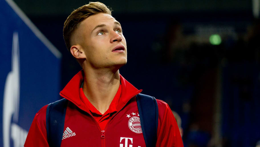 GELSENKIRCHEN, GERMANY - SEPTEMBER 22: Joshua Kimmich of Bayern Muenchen looks on prior the Bundesliga match between FC Schalke 04 and FC Bayern Muenchen at Veltins-Arena on September 22, 2018 in Gelsenkirchen, Germany. (Photo by TF-Images/Getty Images)
