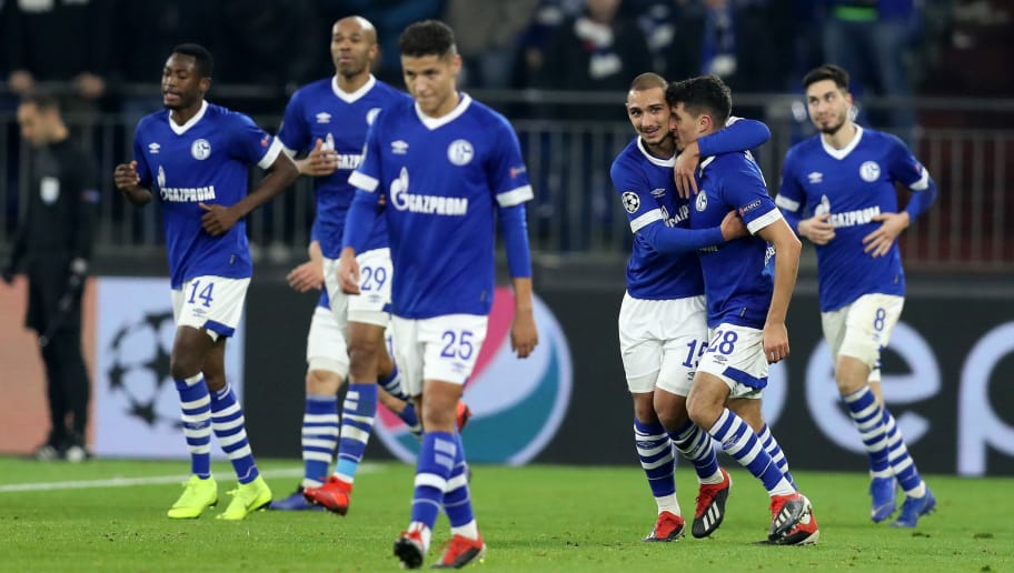 GELSENKIRCHEN, GERMANY - DECEMBER 11: Team members of Schalke celebrate their opening goal during the UEFA Champions League Group D match between FC Schalke 04 and FC Lokomotiv Moscow at Veltins-Arena on December 11, 2018 in Gelsenkirchen, Germany.  (Photo by Maja Hitij/Getty Images)
