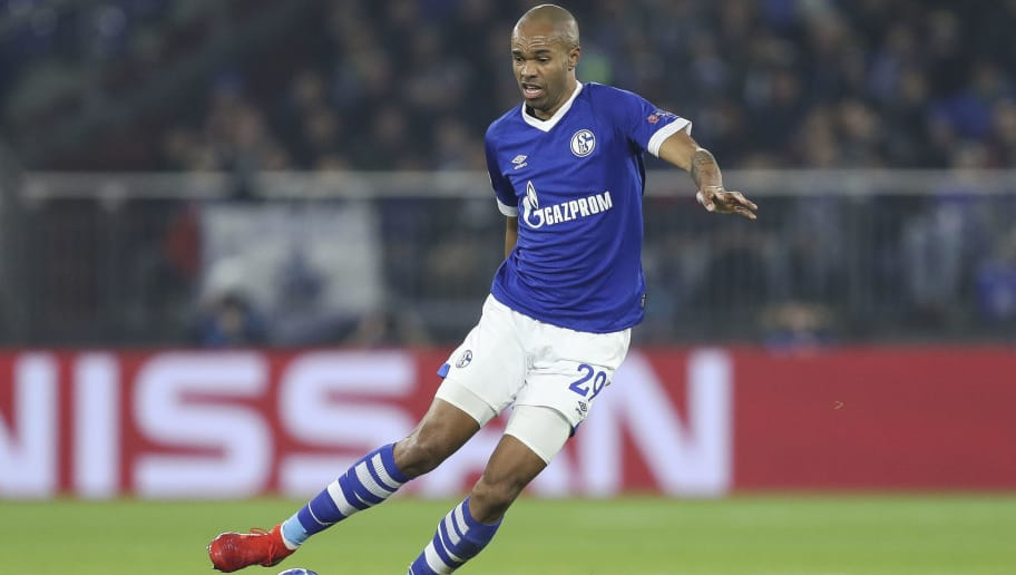GELSENKIRCHEN, GERMANY - DECEMBER 11: Naldo #29 of FC Schalke 04 controls the ball during the UEFA Champions League Group D match between FC Schalke 04 and FC Lokomotiv Moscow at Veltins-Arena on December 11, 2018 in Gelsenkirchen, Germany. (Photo by Maja Hitij/Getty Images)