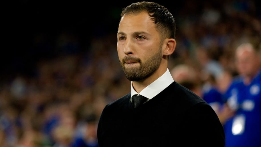 GELSENKIRCHEN, GERMANY - SEPTEMBER 18: Head coach Domenico Tedesco of FC Schalke looks on prior to the UEFA Champions League Group D match between FC Schalke 04 and FC Porto at Veltins-Arena on September 18, 2018 in Gelsenkirchen, Germany. (Photo by TF-Images/Getty Images)