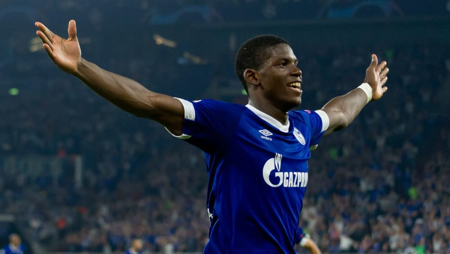 GELSENKIRCHEN, GERMANY - SEPTEMBER 18: Breel Embolo of FC Schalke celebrates after scoring his team`s first goal during the UEFA Champions League Group D match between FC Schalke 04 and FC Porto at Veltins-Arena on September 18, 2018 in Gelsenkirchen, Germany. (Photo by TF-Images/Getty Images)