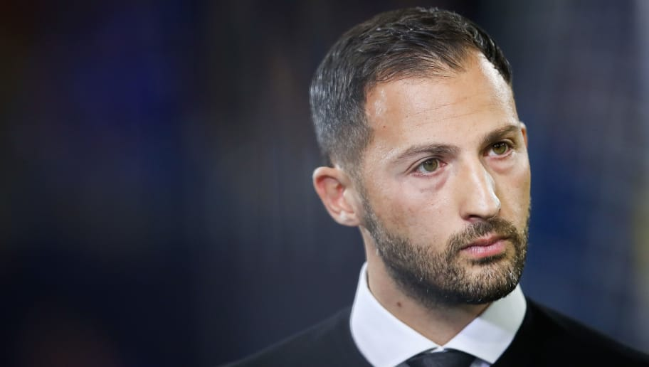 GELSENKIRCHEN, GERMANY - SEPTEMBER 18: Domenico Tedesco, Manager of FC Schalke 04 gives an interview prior the Group D match of the UEFA Champions League between FC Schalke 04 and FC Porto at Veltins-Arena on September 18, 2018 in Gelsenkirchen, Germany. (Photo by Maja Hitij/Bongarts/Getty Images)