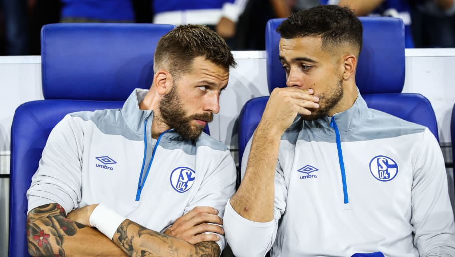 GELSENKIRCHEN, GERMANY - SEPTEMBER 18: Guido Burgstaller of FC Schalke 04 and Franco Di Santo sit on the bench prior the Group D match of the UEFA Champions League between FC Schalke 04 and FC Porto at Veltins-Arena on September 18, 2018 in Gelsenkirchen, Germany. (Photo by Maja Hitij/Bongarts/Getty Images)