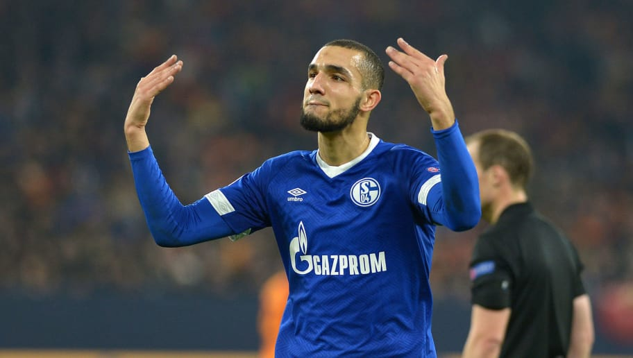 GELSENKIRCHEN, GERMANY - NOVEMBER 06: Nabil Bentaleb of Schalke gestures during the Group D match of the UEFA Champions League between FC Schalke 04 and Galatasaray at Veltins-Arena on November 6, 2018 in Gelsenkirchen, Germany. (Photo by TF-Images/Getty Images)