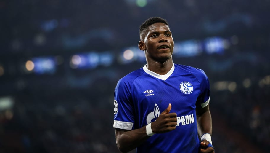 GELSENKIRCHEN, GERMANY - NOVEMBER 06: Breel Embolo #36 of FC Schalke 04 looks on during the Group D match of the UEFA Champions League between FC Schalke 04 and Galatasaray at Veltins-Arena on November 6, 2018 in Gelsenkirchen, Germany. (Photo by Maja Hitij/Bongarts/Getty Images)