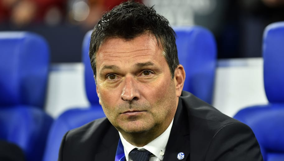 GELSENKIRCHEN, GERMANY - NOVEMBER 06: Manager Christian Heidel of Schalke looks on during the Group D match of the UEFA Champions League between FC Schalke 04 and Galatasaray at Veltins-Arena on November 6, 2018 in Gelsenkirchen, Germany. (Photo by TF-Images/Getty Images)