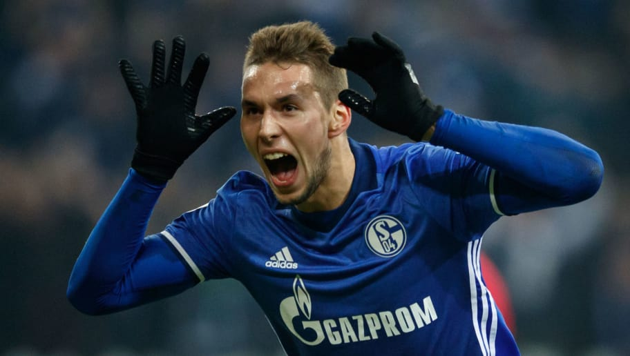 GELSENKIRCHEN, GERMANY - JANUARY 21:  Marko Pjaca of Schalke celebrates after scoring his teams first goal during the Bundesliga match between FC Schalke 04 and Hannover 96 at Veltins-Arena on January 21, 2018 in Gelsenkirchen, Germany.  (Photo by Lars Baron/Bongarts/Getty Images)