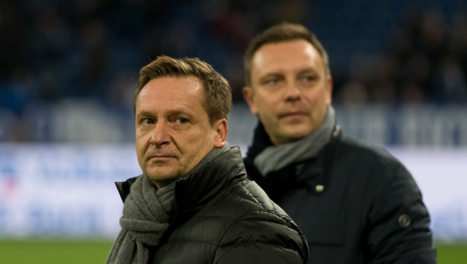 GELSENKIRCHEN, GERMANY - JANUARY 21: Manager Horst Heldt and Head coach Andre Breitenreiter of Hannover look on prior to the Bundesliga match between FC Schalke 04 and Hannover 96 at Veltins-Arena on January 21, 2018 in Gelsenkirchen, Germany. (Photo by TF-Images/TF-Images via Getty Images)