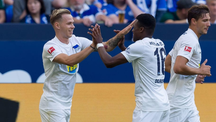 GELSENKIRCHEN, GERMANY - SEPTEMBER 02:   Ondrej Duda of Hertha BSC Berlin   celebrates after scoring his team`s first goal with team mates  during the Bundesliga match between FC Schalke 04 and Hertha BSC at Veltins-Arena on September 2, 2018 in Gelsenkirchen, Germany. (Photo by TF-Images/Getty Images)