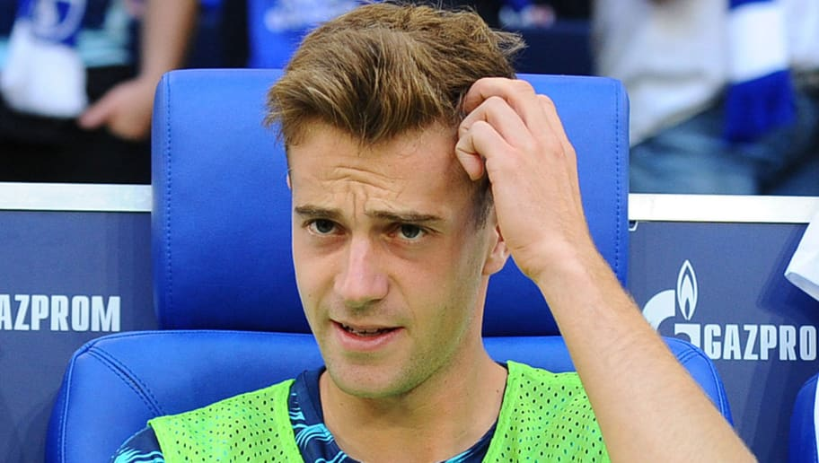 GELSENKIRCHEN, GERMANY - SEPTEMBER 02: Lukas Kluenter of Hertha BSC Berlin  looks on  prior  the Bundesliga match between FC Schalke 04 and Hertha BSC at Veltins-Arena on September 2, 2018 in Gelsenkirchen, Germany. (Photo by TF-Images/Getty Images)