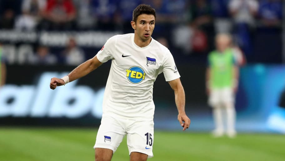 GELSENKIRCHEN, GERMANY - SEPTEMBER 02: Marko Grujic of Berlin runs with the ball during the Bundesliga match between FC Schalke 04 and Hertha BSC at Veltins-Arena on September 2, 2018 in Gelsenkirchen, Germany. (Photo by Christof Koepsel/Bongarts/Getty Images)