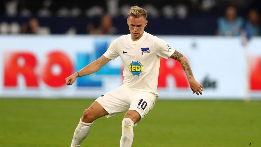 GELSENKIRCHEN, GERMANY - SEPTEMBER 02: Ondrej Duda of Berlin runs with the ball during the Bundesliga match between FC Schalke 04 and Hertha BSC at Veltins-Arena on September 2, 2018 in Gelsenkirchen, Germany. (Photo by Christof Koepsel/Bongarts/Getty Images)
