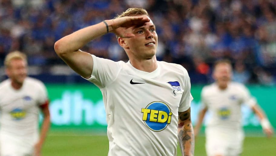 GELSENKIRCHEN, GERMANY - SEPTEMBER 02: Ondrej Duda of Berlin celebrates the second goal during the Bundesliga match between FC Schalke 04 and Hertha BSC at Veltins-Arena on September 2, 2018 in Gelsenkirchen, Germany. (Photo by Christof Koepsel/Bongarts/Getty Images)