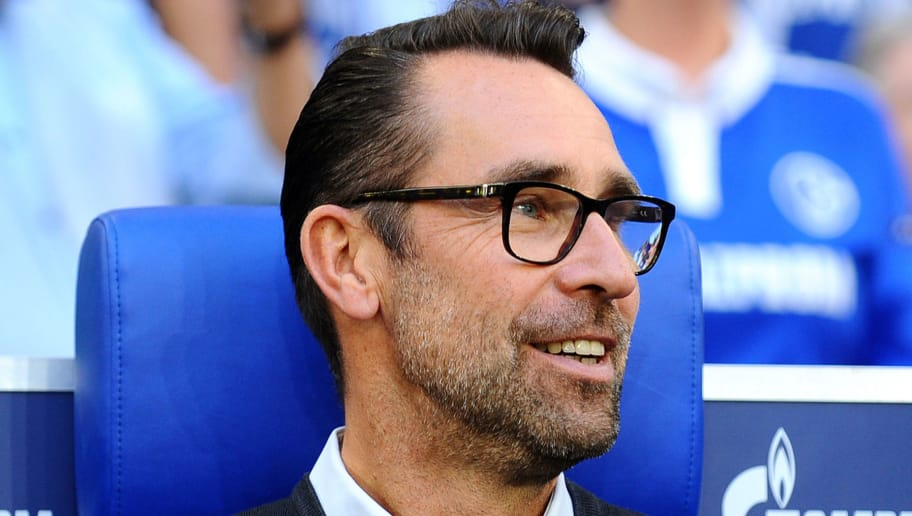 GELSENKIRCHEN, GERMANY - SEPTEMBER 02:  Michael Preetz of Hertha BSC Berlin  looks on  prior  the Bundesliga match between FC Schalke 04 and Hertha BSC at Veltins-Arena on September 2, 2018 in Gelsenkirchen, Germany. (Photo by TF-Images/Getty Images)