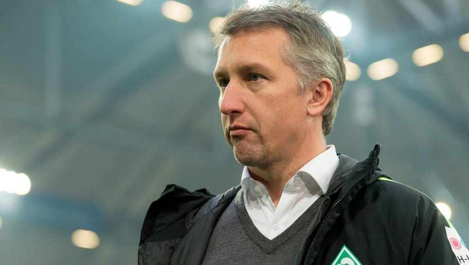 GELSENKIRCHEN, GERMANY - FEBRUARY 03: Frank Baumann of Bremen looks on prior to the Bundesliga match between FC Schalke 04 and SV Werder Bremen at Veltins-Arena on February 3, 2018 in Gelsenkirchen, Germany. (Photo by TF-Images/TF-Images via Getty Images)
