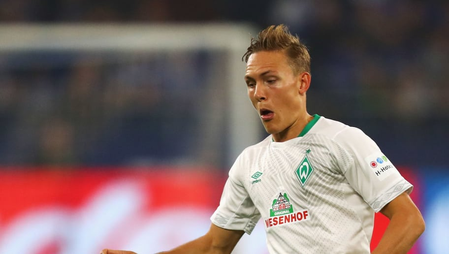 GELSENKIRCHEN, GERMANY - OCTOBER 20:  Ludwig Augustinsson of Werder Bremen in action during the Bundesliga match between FC Schalke 04 and SV Werder Bremen at Veltins-Arena on October 20, 2018 in Gelsenkirchen, Germany.  (Photo by Dean Mouhtaropoulos/Bongarts/Getty Images)