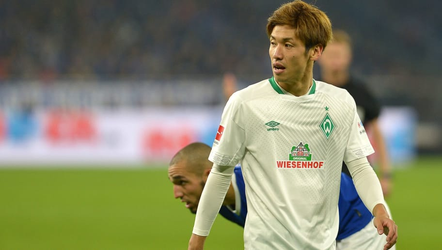 GELSENKIRCHEN, GERMANY - OCTOBER 20: Yuya Osako of SV Werder Bremen looks on during the Bundesliga match between FC Schalke 04 and SV Werder Bremen at Veltins-Arena on October 20, 2018 in Gelsenkirchen, Germany. (Photo by TF-Images/Getty Images)