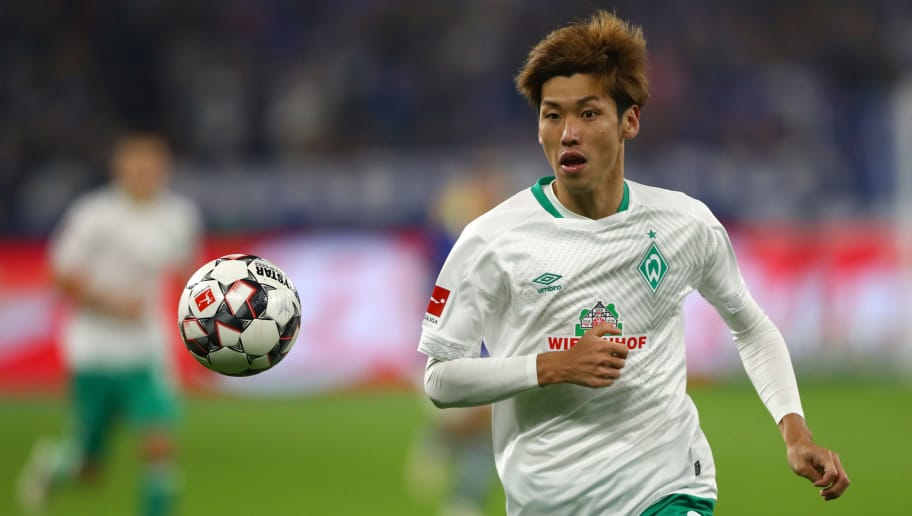 GELSENKIRCHEN, GERMANY - OCTOBER 20:  Yuya Osako of Werder Bremen runs on during the Bundesliga match between FC Schalke 04 and SV Werder Bremen at Veltins-Arena on October 20, 2018 in Gelsenkirchen, Germany.  (Photo by Dean Mouhtaropoulos/Bongarts/Getty Images)