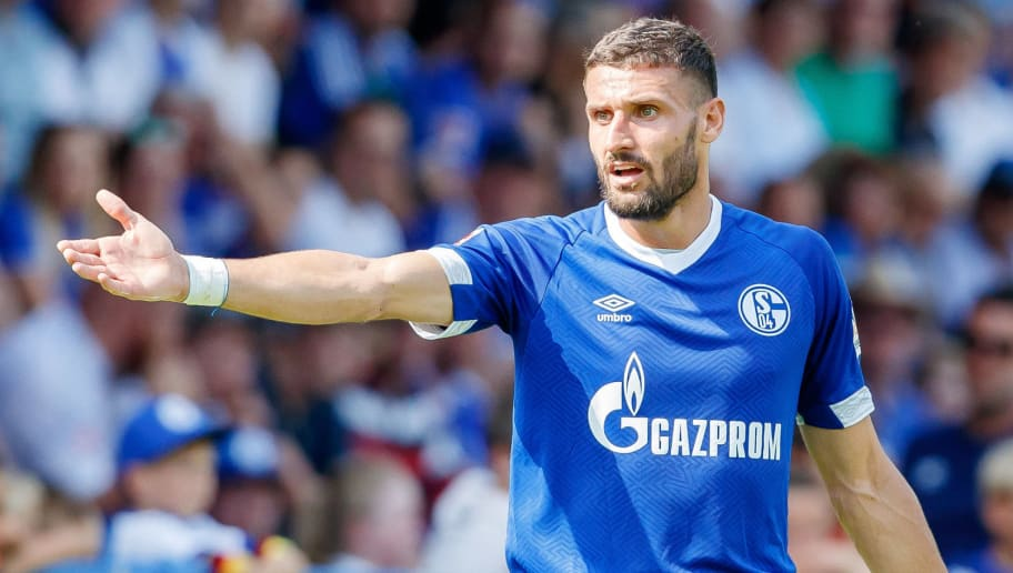MITTERSILL, AUSTRIA - AUGUST 05: Daniel Caligiuri of Schalke gestures during the friendly match between FC Schalke and SCO Angers at Waldstadion on August 5, 2018 in Mittersill, Austria. (Photo by TF-Images/Getty Images)