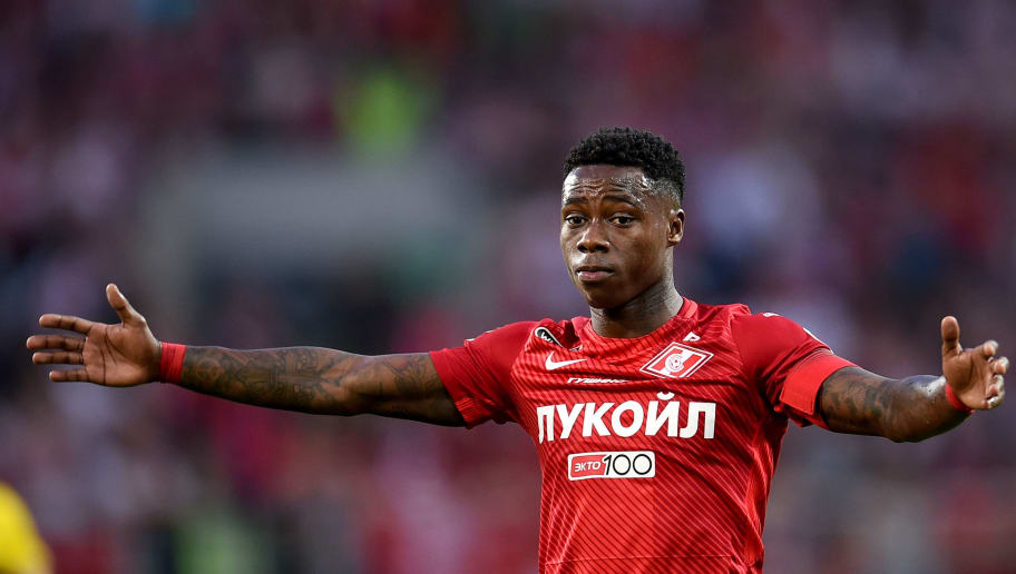 MOSCOW, RUSSIA - MAY 05: Quincy Promes of FC Spartak Moscow reacts during the Russian Premier League match between FC Spartak Moscow and FC Rostov Rostov-On-Don at Otkrytie Arena stadium on May 05, 2018 in Moscow, Russia. (Photo by Epsilon/Getty Images)