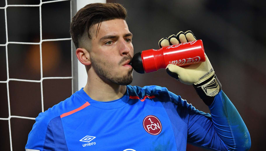 HAMBURG, GERMANY - FEBRUARY 12:  Fabian Bredlow of Nuernberg in action during the Second Bundesliga match between FC St. Pauli and 1. FC Nuernberg at Millerntor Stadium on February 12, 2018 in Hamburg, Germany.  (Photo by Stuart Franklin/Bongarts/Getty Images)