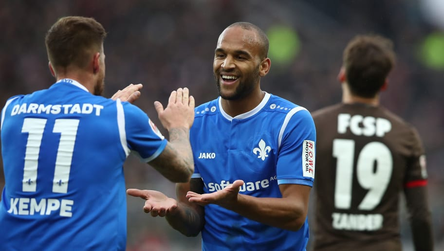 HAMBURG, GERMANY - JANUARY 28:  (L-R) Tobias Kempe and Terrence Boydx of Darmstadt celebrate after the Second Bundesliga match between FC St. Pauli and SV Darmstadt 98 at Millerntor Stadium on January 28, 2018 in Hamburg, Germany.  (Photo by Oliver Hardt/Bongarts/Getty Images)