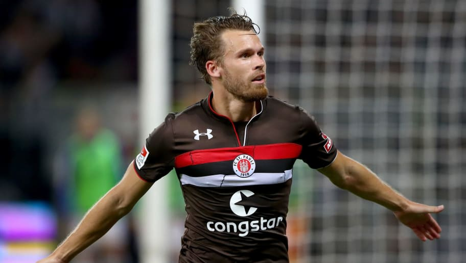 HAMBURG, GERMANY - AUGUST 10: Christopher Buchtmann of St. Pauli celebrates after he scores the 2nd goal during the Second Bundesliga match between FC St. Pauli and SV Darmstadt 98 at Millerntor Stadium on August 10, 2018 in Hamburg, Germany.  (Photo by Martin Rose/Bongarts/Getty Images)