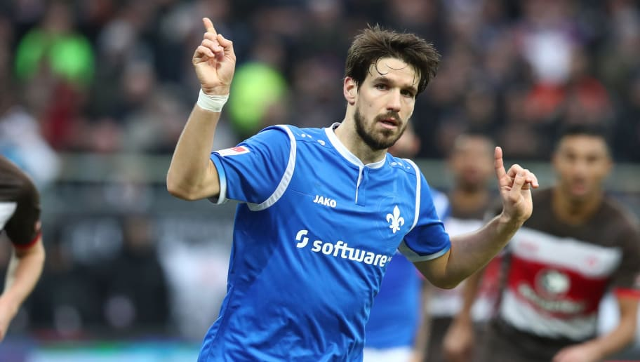 HAMBURG, GERMANY - JANUARY 28:  Romain Bregerie of Darmstadt gesticulated during the Second Bundesliga match between FC St. Pauli and SV Darmstadt 98 at Millerntor Stadium on January 28, 2018 in Hamburg, Germany.  (Photo by Oliver Hardt/Bongarts/Getty Images)