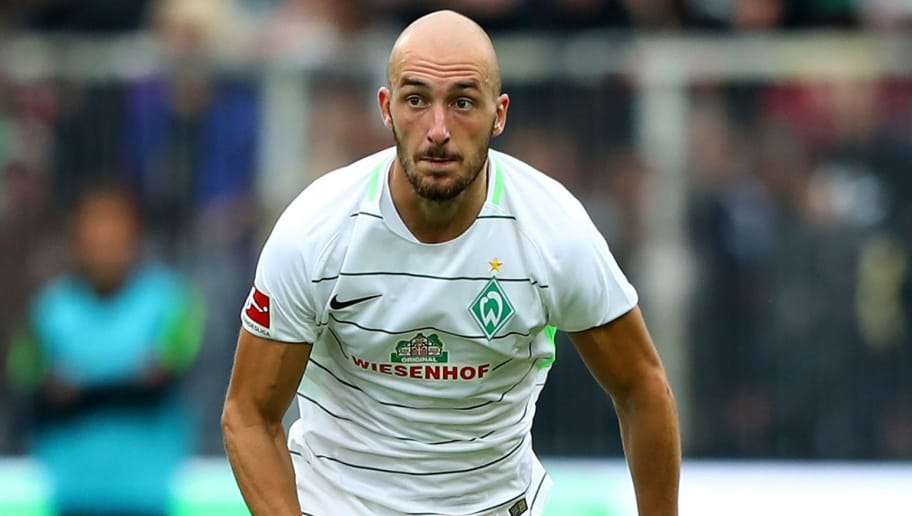 HAMBURG, GERMANY - JULY 22:  Luca Caldirola of Bremen runs with the ball during the preseason friendly match between FC St. Pauli and Werder Bremen at Millerntor Stadium on July 22, 2017 in Hamburg, Germany.  (Photo by Martin Rose/Bongarts/Getty Images)