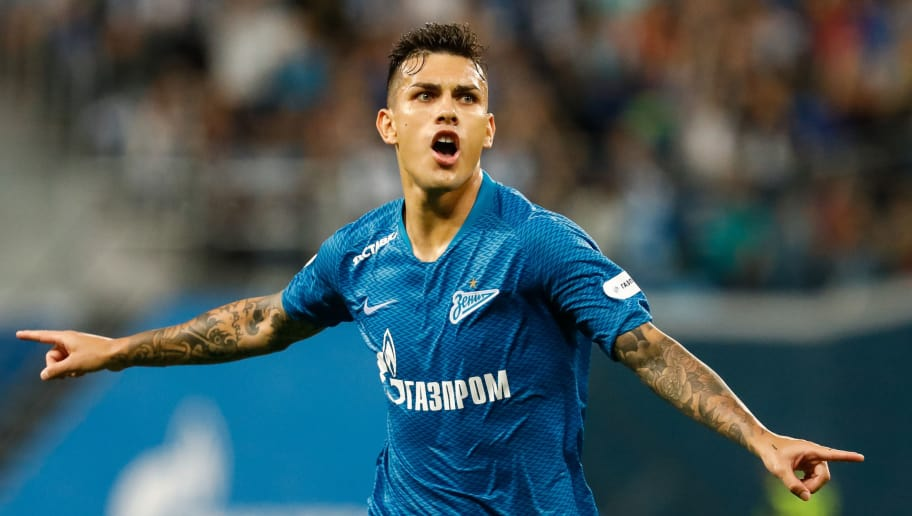 SAINT PETERSBURG, RUSSIA - AUGUST 19: Leandro Paredes of FC Zenit Saint Petersburg celebrates his goal during the Russian Premier League match between FC Zenit Saint Petersburg and FC Ural Ekaterinburg at Saint Petersburg Stadium on August 19, 2018 in Saint Petersburg, Russia. (Photo by Epsilon/Getty Images