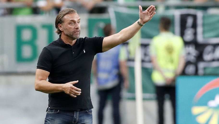 BUDAPEST, HUNGARY - JULY 12: Head coach Thomas Doll of Ferencvarosi TC reacts during the UEFA Europa League First Qualifying Round 1st Leg match between Ferencvarosi TC and Maccabi Tel Aviv FC at Groupama Arena on July 12, 2018 in Budapest, Hungary. (Photo by Laszlo Szirtesi/Getty Images)