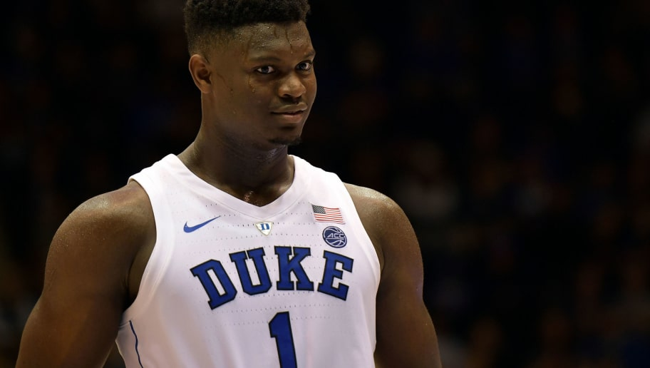 DURHAM, NC - OCTOBER 27: Zion Williamson #1 of the Duke Blue Devils looks on during their game against the Ferris State Bulldogs at Cameron Indoor Stadium on October 27, 2018 in Durham, North Carolina. (Photo by Lance King/Getty Images)