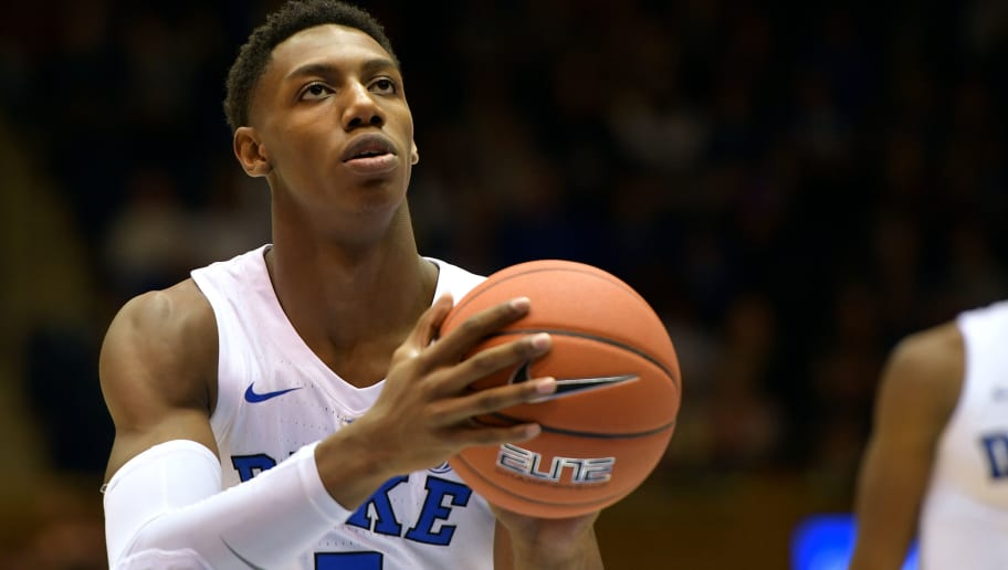 DURHAM, NC - OCTOBER 27: RJ Barrett #5 of the Duke Blue Devils concentrates at the free-throw line against the Ferris State Bulldogs at Cameron Indoor Stadium on October 27, 2018 in Durham, North Carolina. (Photo by Lance King/Getty Images)