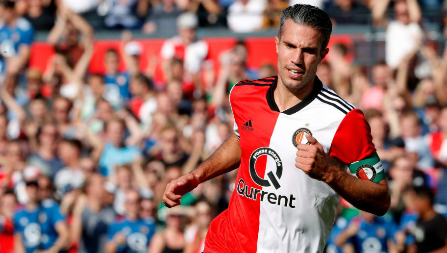 ROTTERDAM, NETHERLANDS - SEPTEMBER 2: Robin van Persie of Feyenoord celebrates 1-0 during the Dutch Eredivisie  match between Feyenoord v NAC Breda at the Stadium Feijenoord on September 2, 2018 in Rotterdam Netherlands (Photo by Cees van Hoogdalem/Soccrates/Getty Images)
