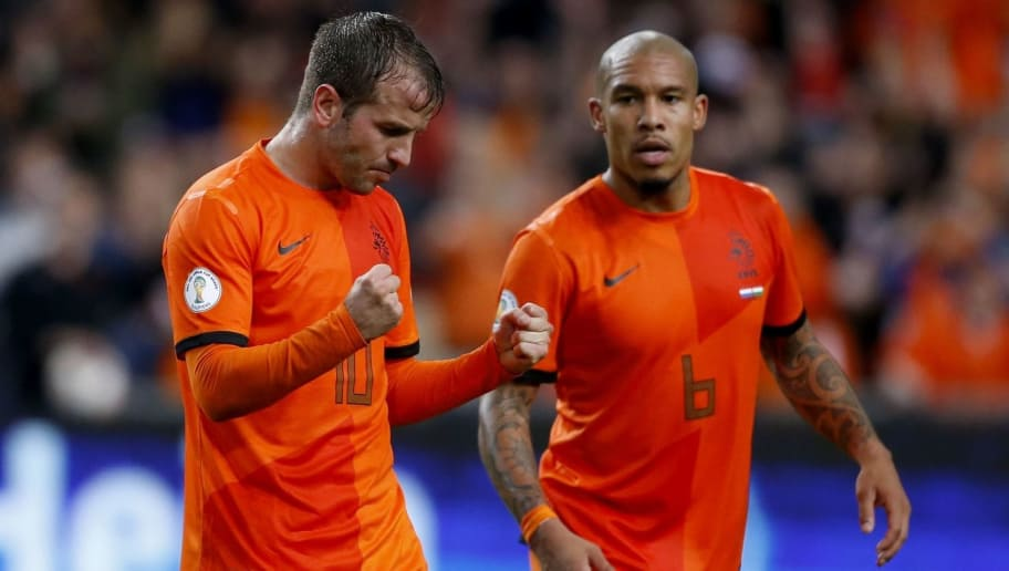 (L-R) Rafael van der Vaart of Holland, Nigel de Jong of Holland during the FIFA 2014 World Cup qualifier match between the Netherlands and Hungary at the Amsterdam Arena on Oktober 11, 2013 in Amsterdam, The Netherlands(Photo by VI Images via Getty Images)