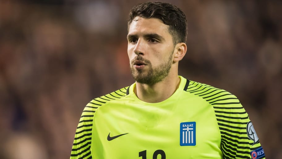 goalkeeper Stefanos Kapino of Greeceduring the FIFA World Cup 2018 qualifying match between Belgium and Bosnie Herzegowina on October 07, 2016 at the Koning Boudewijn stadium in Brussels, Belgium.(Photo by VI Images via Getty Images)