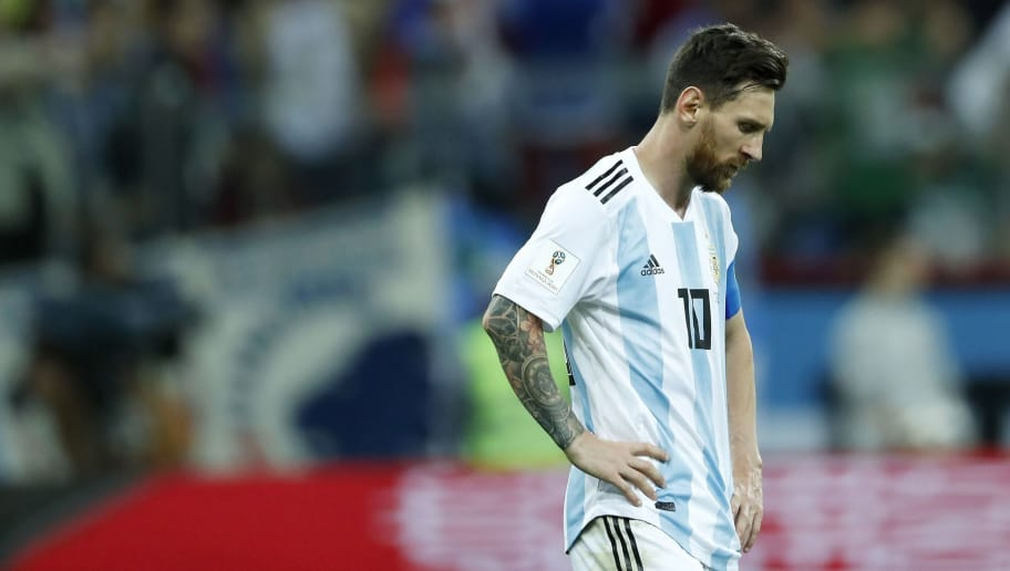 Lionel Messi of Argentina during the 2018 FIFA World Cup Russia group D match between Argentina and Croatia at the Novgorod stadium on June 21, 2018 in Nizhny Novgorod, Russia(Photo by VI Images via Getty Images)