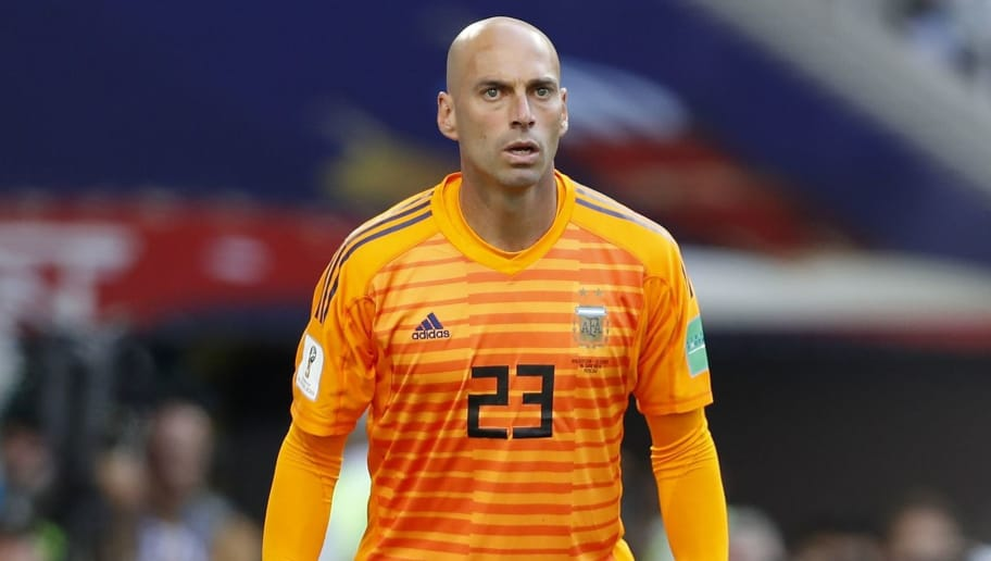 goalkeeper Willy Caballero of Argentina during the 2018 FIFA World Cup Russia group D match between Argentina and Iceland at the Spartak Stadium on June 16, 2018 in Moscow, Russia.(Photo by VI Images via Getty Images)