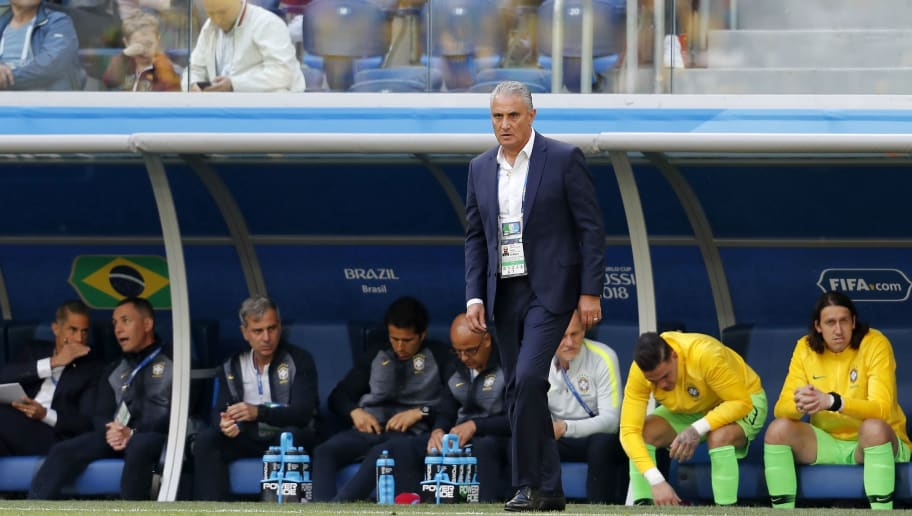 coach Tite of Brazil during the 2018 FIFA World Cup Russia group E match between Brazil and Costa Rica at the Saint Petersburg Stadium on June 22, 2018 in Saint Petersburg, Russia.(Photo by VI Images via Getty Images)