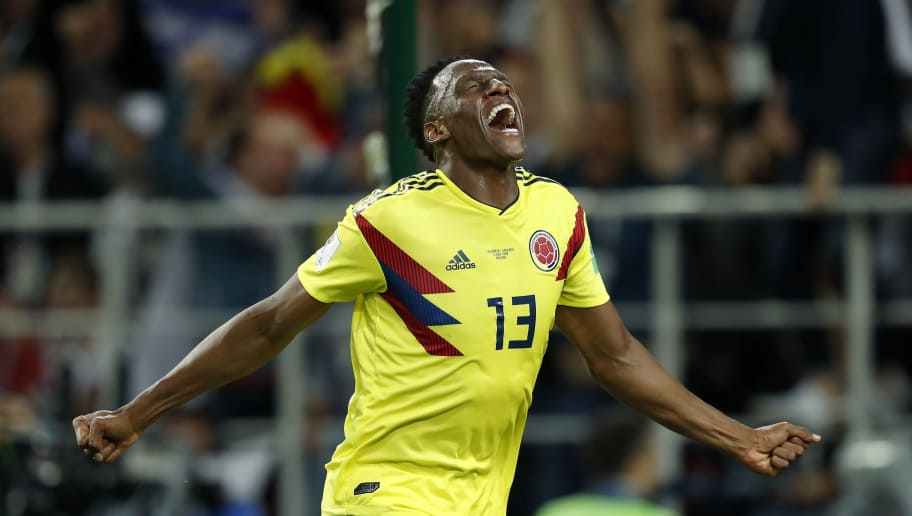 Yerry Mina of Colombia during the 2018 FIFA World Cup Russia round of 16 match between Columbia and England at the Spartak stadium  on July 03, 2018 in Moscow, Russia(Photo by VI Images via Getty Images)