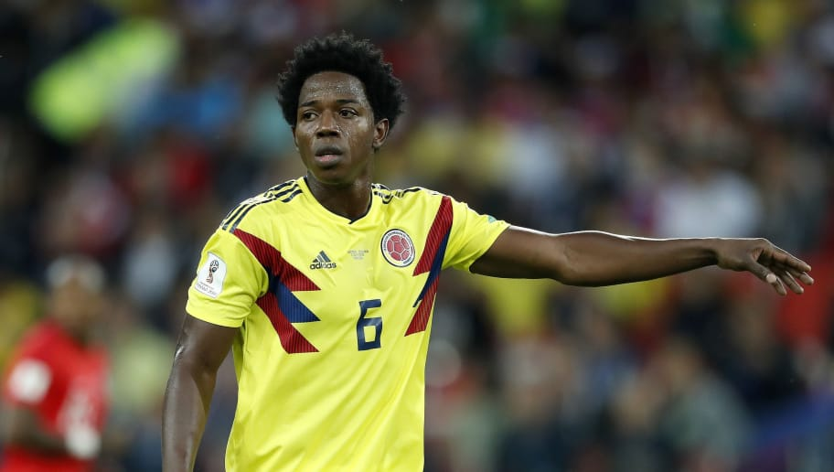 Carlos Sanchez of Colombia during the 2018 FIFA World Cup Russia round of 16 match between Columbia and England at the Spartak stadium  on July 03, 2018 in Moscow, Russia(Photo by VI Images via Getty Images)