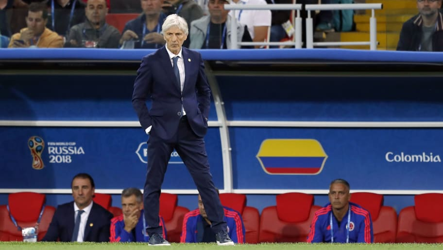 Colombia coach Jose Pekerman during the 2018 FIFA World Cup Russia round of 16 match between Columbia and England at the Spartak stadium  on July 03, 2018 in Moscow, Russia(Photo by VI Images via Getty Images)
