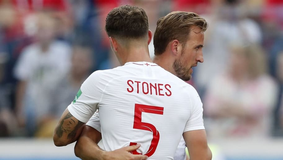 (L-R) John Stones of England, Harry Kane of England during the 2018 FIFA World Cup Russia group G match between England and Panama at the Nizhny Novgorod stadium on June 24, 2018 in Nizhny Novgorod, Russia(Photo by VI Images via Getty Images)