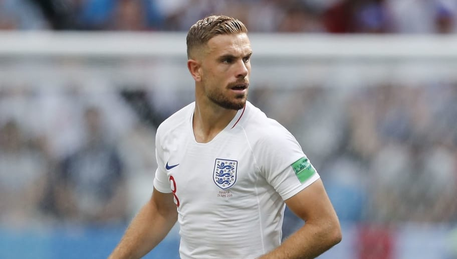 Jordan Henderson of England during the 2018 FIFA World Cup Russia group G match between England and Panama at the Nizhny Novgorod stadium on June 24, 2018 in Nizhny Novgorod, Russia(Photo by VI Images via Getty Images)