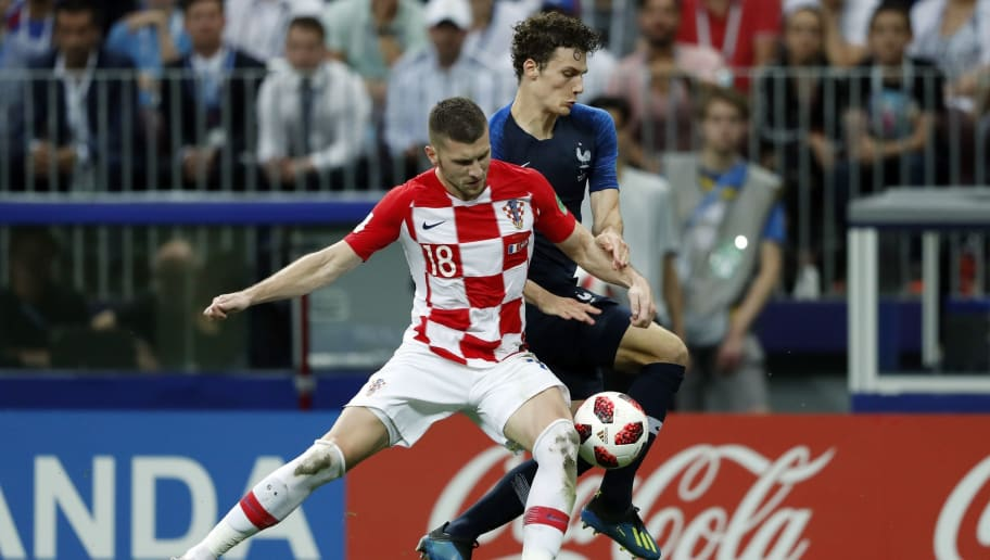 (l-r) Ante Rebic of Croatia, Benjamin Pavard of France during the 2018 FIFA World Cup Russia Final match between France and Croatia at the Luzhniki Stadium on July 15, 2018 in Moscow, Russia(Photo by VI Images via Getty Images)
