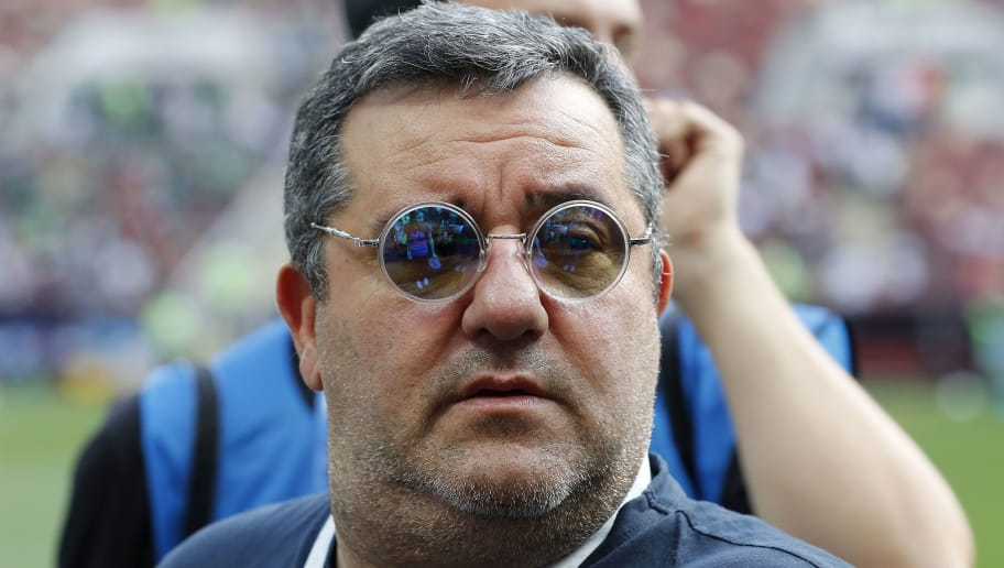 players agent Mino Raiola during the 2018 FIFA World Cup Russia group F match between Germany and Mexico at the Luzhniki Stadium on June 17, 2018 in Moscow, Russia(Photo by VI Images via Getty Images)