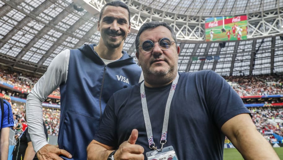 (L-R) Zlatan Ibrahimovic, players agent Mino Raiola during the 2018 FIFA World Cup Russia group F match between Germany and Mexico at the Luzhniki Stadium on June 17, 2018 in Moscow, Russia(Photo by VI Images via Getty Images)