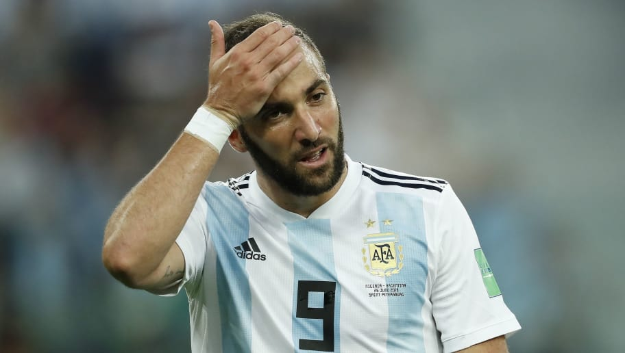 Gonzalo Higuain of Argentina during the 2018 FIFA World Cup Russia group  D match between Nigeria and Argentina at the Saint Petersburg Stadium on June 26, 2018 in Saint Petersburg, Russia(Photo by VI Images via Getty Images)