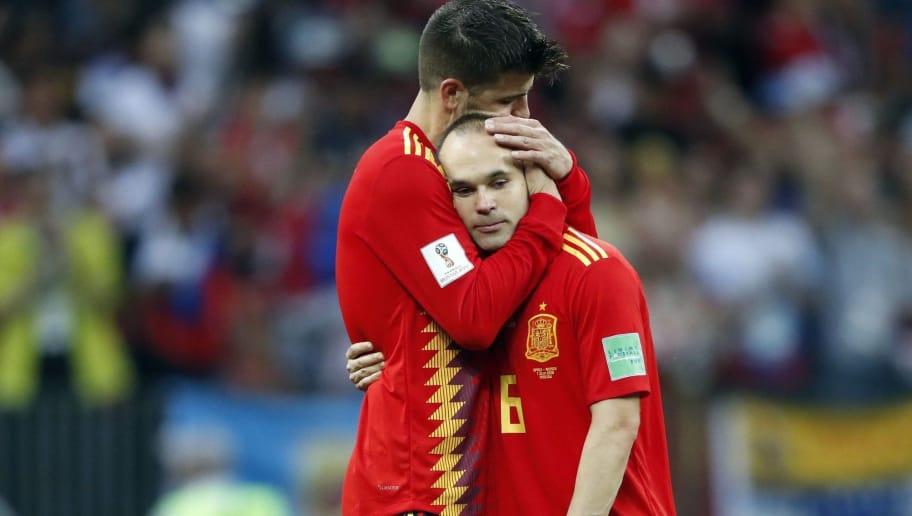 Gerard Pique of Spain, Andres Iniesta of Spain during the 2018 FIFA World Cup Russia round of 16 match between Spain and Russia at the Luzhniki Stadium on July 01, 2018 in Moscow, Russia(Photo by VI Images via Getty Images)